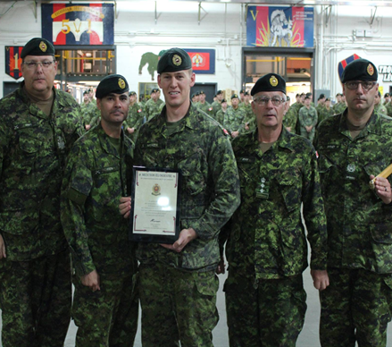 Shown in the Photo, CWO Ron Swift, CME Br CWO, LCol Eric Fortin, CO 5 RGC, Capt John Natyncyk, President of the CMEA Quebec area Chapter, BGenSteve Irwin, CME Col Cmdt, MWO Marc Drolet, acting RSM 5 RGC