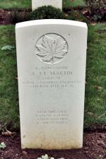 Sapper Martin's headstone at Beny-Sur-Mer Cemetery.
