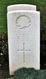 Gravestone for Spr William Nichol Bisset in the Dieppe Canadian War Cemetery, Hautot-sur-Mer, France
