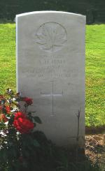 Headstone of L/Cpl Alfred Harry Hall in the Dieppe Canadian War Cemetery, Hautot-sur-Mer, France