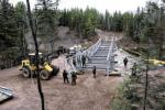 Members of 4 Engineering Support Regiment construct a 149-foot Acrow bridge spanning the Tetagouche River during Exercise Nihilo Sapper, a large-scale military exercise that took place outside Bathurst, N.B. in November. - Photo: WO Jerry Kean/5 Cdn Div HQ Public Affairs