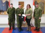 Talia Morgan receives CMEA Bursary Cheque from CMEA Chapter President, MWO Shawn Stoot: Cpl Levi Malmas, MWO Shawn Sloot, Talia Morgan, MWO Bill Lovely