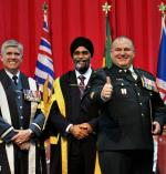 From left to right: Comdt RMC, BGen Sean Friday; MND, Harjit Singh Sajjan; and CWO Mike Thompson