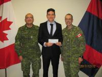 MCpl Mateus-Rodriguez, Bursary Winner Daniel, and CWO Chiasson