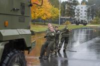 Team 1 pulling a Spanish military vehicle