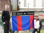 Major-General Paul Wynnyk and Lieutenant-Colonel Erik Crane at the Canal de l'Escaut