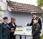Dedicating a commerative plaque in Lesperon, France (BGen Irwin, Mayor Mrs. Cousseau, Cdr Nadeau and CCWO Marris)