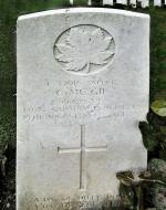 Headstone of Spr Chester McGie in the Dieppe Canadian War Cemetery, Hautot-sur-Mer, France