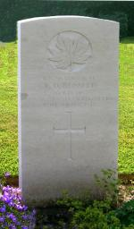 Headstone of Cpl Daniel Thomas Russell in the Dieppe Canadian War Cemetery, Hautot-sur-Mer, France