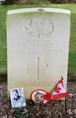 """""""God's Greatest Gift - Remembrance"""" - Lt Stalker's headstone at Beny-sur-Mer Canadian War Cemetery"""