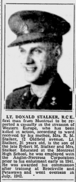 Montreal Gazette reporting Lt Stalker had been killed.