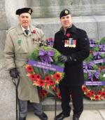 econd World War amputee veteran Charles Jefferson and Afghanistan amputee veteran Sgt. (ret'd) Gaétan Bouchard lay a wreath at the National Remembrance Day ceremony on behalf of The War Amps.