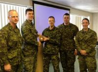 CO 5 CER, LCol Levasseur, and Regimental Sergeant-Major, CWO Rivard, thank Maj Southwood and his team from 1 CER, Capt Lake and MWO Lapointe.