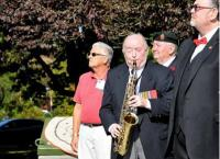 """Wings"" was played beautifully by ex‐RCE Bandsman Charlie Young, now 94 years of age and still a most accomplished, active musician."
