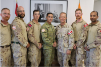 On July 30, 2019, 1 Engineer Support Unit (1 ESU) personnel met with the Multinational Force and Observers (MFO) Force Commander (FC) to receive Commander's Coins for the specialized operational effects provided to the MFO in the Sinai. Pictured left to right, Corporal (Cpl) Ben Wilsons, Master Corporal Gerry Watson, Sapper Adam Spiridi, Major General Simon Stuart - MFO FC, Chief Warrant Officer Steph Daigle - MFO Sergeant Major, Cpl Cody Fox, and Cpl Carlton Crasto.