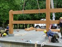 191 Construction Engineer Flight (191 CEF) building post & beam Filberg Park Bandstand. // La ele GC et a terminé la construction d'une nouvelle structure en bois d'œuvre au Filberg Heritage Lodge & Park à l'été 2014.