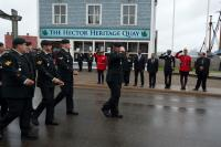 Pictured is the 4 ESR contingent led by WO Michael Harty as they pay respect to the Parade Reviewing Party. Photo done by MCpl Chris Rignius of Formation Imaging Services.