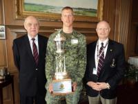 2012 Winner OCdt Bouwman with MGen Stewart and Dr. John Stewart
