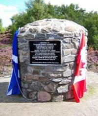 Memorial cairn in honour of Corporal James Hendry near the tunnel at the head of Loch Laggan, near Newtonmore, Scotland