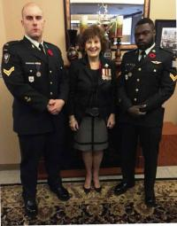 Cpl Charland, Her Honour, the Honourable Lois Mitchell, CM, AOE, Lt Gov of Alberta, Cpl Joseph Isaac // le Cpl Charland, l'honorable Lois Mitchell, C.M., A.O.E., Lt-gov de l'Alberta, le Cpl Joseph Isaac