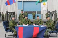From left to right: CWO D. Jones, CWO K. Olstad, Col P. Dawe, LCol N. Pilon, CWO N. Manoukarakis
