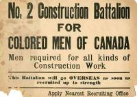In 1916, the government authorized the creation of the No 2 Construction Battalion, a unit primarily composed of black Canadian enlisted men. This move was in