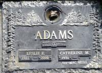 Memorial Plaque Leslie Ernest Adams in Heatherdale Memorial Gardens
