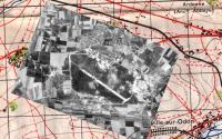 Aerial view of Carpiquet Airport superimposed on 1:50 map