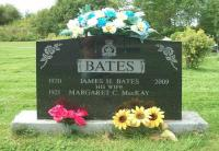 """Grave of James Harvey """"Jim"""" Bates and his wife in the Robie Street Cemetery in Truro, NS"""