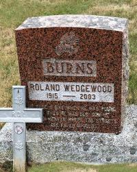 Roland Wedgewood Burns Headstone, Indian Brook Cemetery in Barss Corner