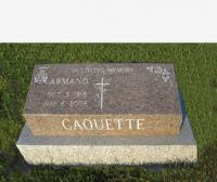 Spr Armand J. Caouette (Ret'd) Headstone St. Lucy's Roman Catholic Cemetery in Arborfield, AB