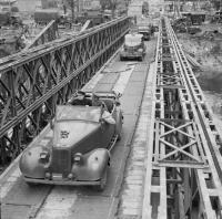 Churchill and Montgomery cross RCE-built bridge in Caen 22 July 1944