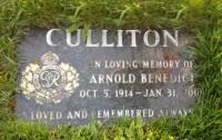 Sergeant Arnold Benedict Culliton (Ret'd) Headstone at Victoria Lawn Cemetery, London ON
