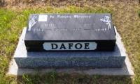 Spr John Calvin Dafoe's gravestone in the Ninette Cemetery, Ninette, MB