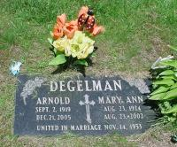 Arnold Degelman's grave marker in St Clement's Cemetery in Preston, Waterloo Township