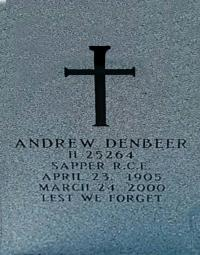 Andrew's Headstone in the Military Section at Brookside Cemetery in Winnipeg.