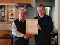 Dennis Dwyer receives Letter of Appreciation from Dan O'Keefe representing the Edmonton Chapter of the CMEA