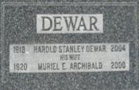 Harold Stanley Dewar's Headstone in Truro, NS