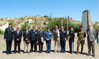 Left to right: LCol David Burbridge (CME), Mr. Jean Michel Mormone (CFAA), Mr. Kevin Laussu (CFAA), CWO Bruce Blanchard (CME), Consul Daniel Hall (for US in Bordeaux), LCol Lee Goodman (CME), Mr. David Devigne (CFAA), Major David Kopecky (US Army), Sgt Peter Schiller (US Army), Mr. Christophe Haen (friend of David Devigne), Mr. Christian Tauziède (CFAA), Absent: Mr. Al Gaudet (CFAA)