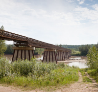 The Bailey Bridge on the Liard Highway across the Fort Nelson River in BC is believed to have been the longest such bridge in Canada when constructed in 1984 at 1,410 feet. It was replaced by a permanent superstructure in 2016.