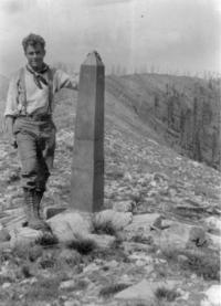 Gerry Andrews at Mount Hefty along the US-­‐Canada boundary during the summer of 1930 when he was crew chief for a forest inventory in the North Fork of the Flathead valley.