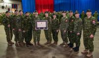 5 RGC Troop Members Brigade Sergeant Major CWO Morneau, Sgt Girard, Brigade Chief Geo WO Pouliot, Sgt Beaudet, MCpl Grenier, MCpl Ouellet, Cpl Addy, Cpl Michaud, Cpl Perron, Sgt Huntington and Brigade Commander Col Arsenault. (Missing from the photo: MCpl Renaud now at JTFN Yellowknife and MCpl Reid now at Trinity Halifax).