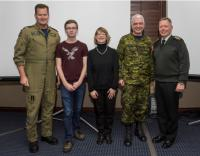 From left to right: LGen Michael Hood, Comd RCAF, Ben Horgan, Christine Horgan, BGen Kevin Horgan and Gen Jonathan Vance, Chief of the Defence Staff