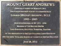 Commemorative Plaque for Mount Gerry Andrews