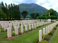 The Cassino Commonwealth War Cemetery with Monte Cassino in the background.