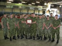 Col Comdt Des Deslauriers presents certificate to Troop 6, 53 Fd Sqn