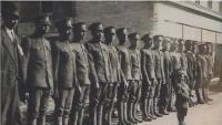 Members of the No. 2 Construction Battalion line up in Truro, N.S., before they depart for England and France in WW I. (Submitted by George Borden)