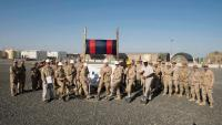 BGen Andrew Jayne, Comd Joint Task Force Iraq, presided at the new accommodation building ground breaking ceremony, along with CWO Robert McCann, Task Force Sergeant-Major Joint Task Force Iraq, LCol René Poirier, Operational Support Hub (OSH) South West Asia CO, the CSM, the CE section heads and two DCC Reps, Camp Canada, Kuwait, March 2, 2018. Photo: DND/CAF