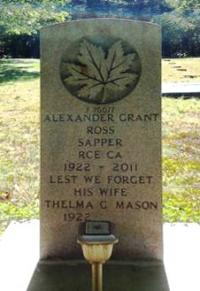 Sapper Alexander Grant Ross' Headstone in Hattie Cemetery, Avondale, NS 2