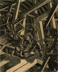Sappers at Work: A Canadian Tunnelling Company, Hill 60, St Eloi by David Bomberg, which bears a reference to 1st Canadian Tunnelling Company